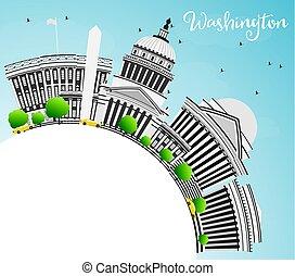 washington dc, skyline, met, grijs, gebouwen, en, kopie, space.