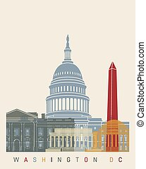 Washington DC skyline poster in editable vector file