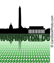 Washington DC skyline reflected with dollar symbols illustration