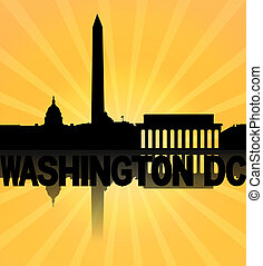 Washington DC skyline reflected with sunburst illustration