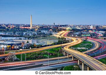 Washington DC Skyline - Washington, DC skyline of monuments...