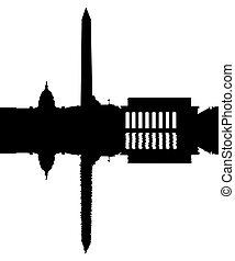 washington dc, skyline, weerspiegelde