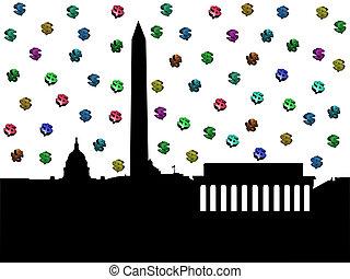 Washington DC skyline with dollars