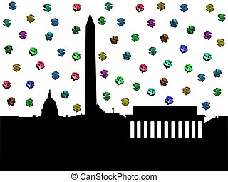 Washington DC skyline with dollars