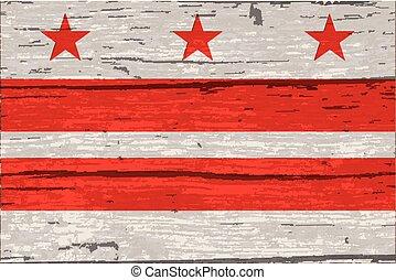 Washington DC State Flag On Old Timber - The flag of the USA...