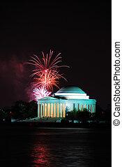 Washington DC - Thomas Jefferson Memorial illuminated with...
