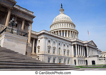 Washington DC - US Capitol Hill Building closeup front shot,...