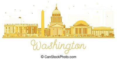 Washington dc USA city skyline golden silhouette.