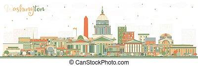 Washington DC USA City Skyline with Color Buildings.