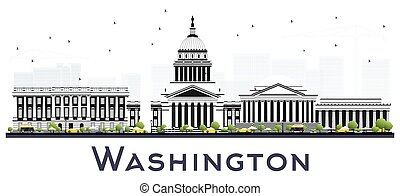 Washington DC USA City Skyline with Gray Buildings Isolated on White.