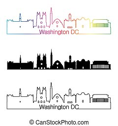 Washington DC V2 skyline linear style with rainbow