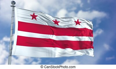 Washington DC Waving Flag - Washington DC (U.S. state) flag...