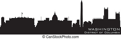 washington, district k kolumbie, skyline., detailní, vektor, silueta