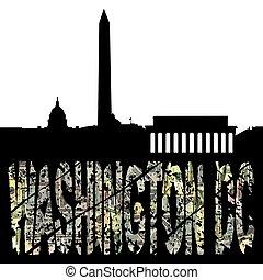washington, dollar, dc, illustration, horizon, texte
