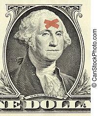Washington dollar portrait with bandages