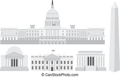 washington, edifícios, memorials, capitol, dc