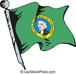 Washington Flag Waving Vector Illustration