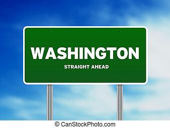 Washington Highway Sign - Green Washington, USA highway sign...
