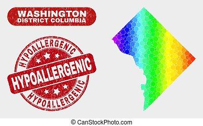 washington, hypoallergenic, district, timbre, colombie, détresse, carte, spectral, mosaïque