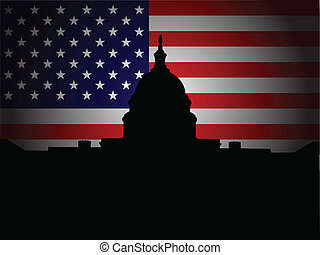 washington - Capitol Hill silhouette with American flag in...
