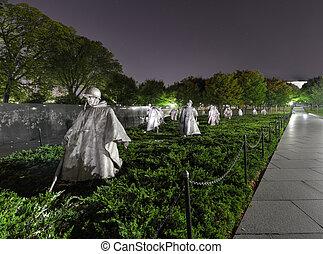 washington, koreai, emlékmű, háború, egyenáram