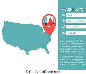 Washington map infographic vector illustration