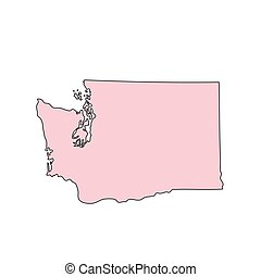 Washington map isolated on white background silhouette. Washington USA state.
