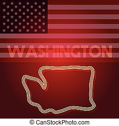 Washington map, part of the United States of America, Vector illustration, EPS 10
