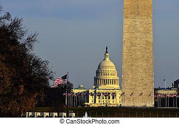 Washington Monument and US Capitol Building
