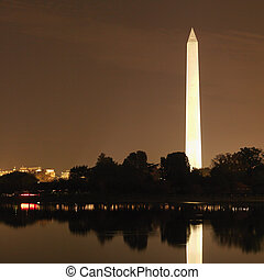 washington monument, en, night.