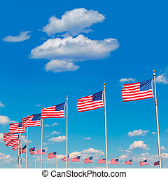 Washington Monument flags in DC USA