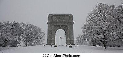 Washington Monument in Blizzard - The Washington Monument in...