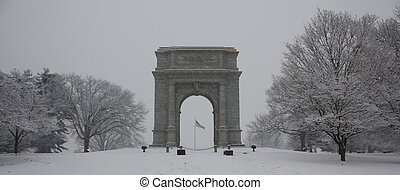 Washington Monument in Blizzard - The Washington Monument in...