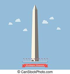 Washington monument in flat style
