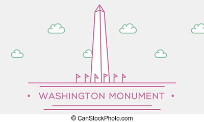 Washington monument. Part of the set. Animated outlined landmark 4K footage