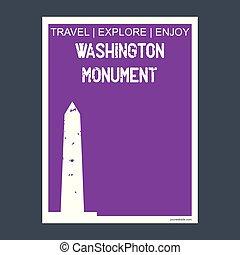 Washington Monument, USA monument landmark brochure Flat style and typography vector