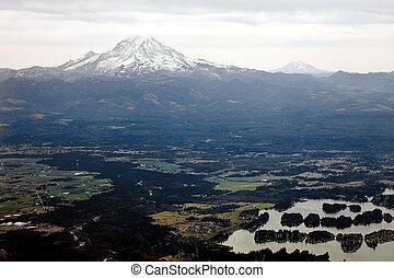 Washington Mountains - Mt. Ranier and Mt. Hood on the...