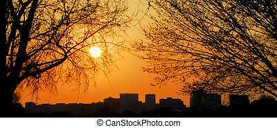 washington, silhouette horizon, dc, coucher soleil
