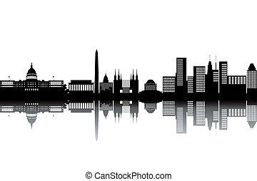 Washington skyline - black and white vector illustration