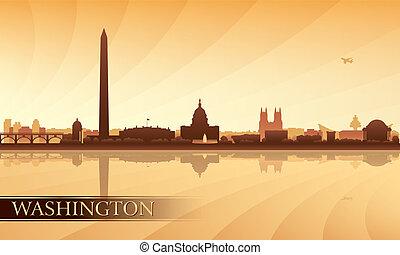 washington, skyline città, silhouette, fondo