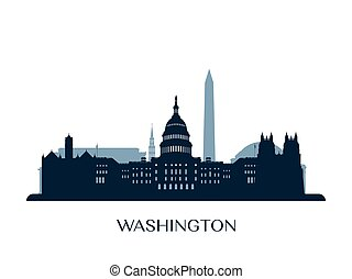 Washington skyline, monochrome silhouette.