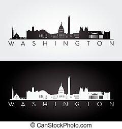 Washington skyline silhouette - Washington USA skyline and...