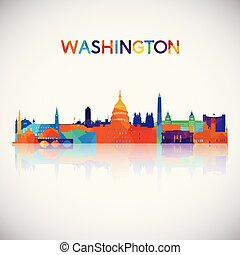 Washington skyline silhouette in colorful geometric style.