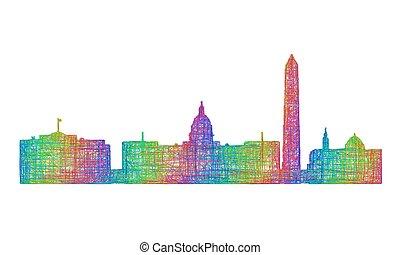 Washington skyline silhouette - multicolor line art -...
