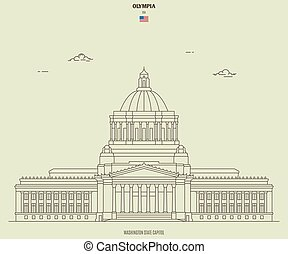 Washington State Capitoll in Olympia, USA. Landmark icon in linear style