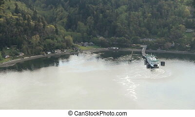 Washington State Ferry at Dock - Large commuter vessel at...