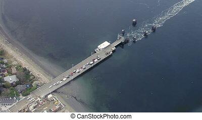 Washington State Ferry Leaving Dock - Large commuter vessel...