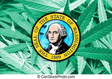 Washington State Flag on cannabis background. Drug policy. ...