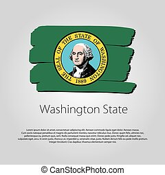 Washington State Flag with colored hand drawn lines in Vector Format