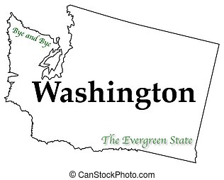 A Washington state outline with the slogan and motto isolated on a white background